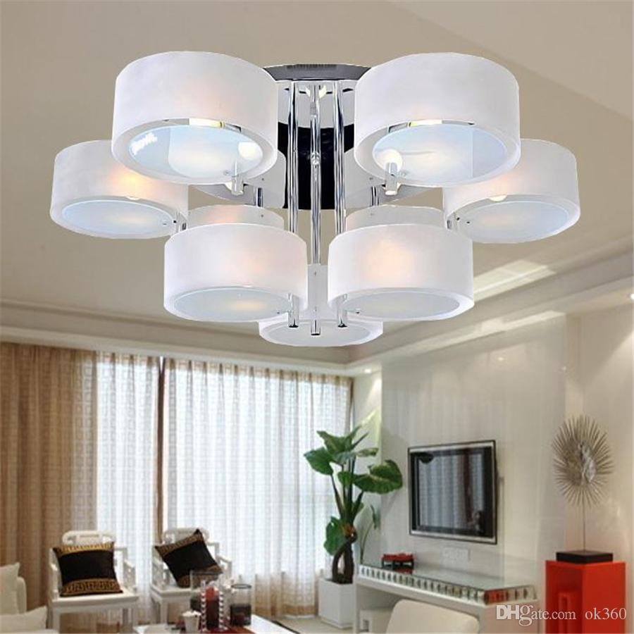 2019 modern acrylic glass led ceiling light 3 5 7 head lamp fashion living room lights bedroom lighting pendant lamps dia53cm 65cm 85cm downlight from ok360
