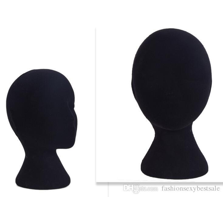 wholesale 3style weiblicher Mann Schaum kahler männlicher Mannequin-Kopf-Perücken-Hut-Glas-Kopfhörer-Anzeige-Modell-Standschwarzes B612