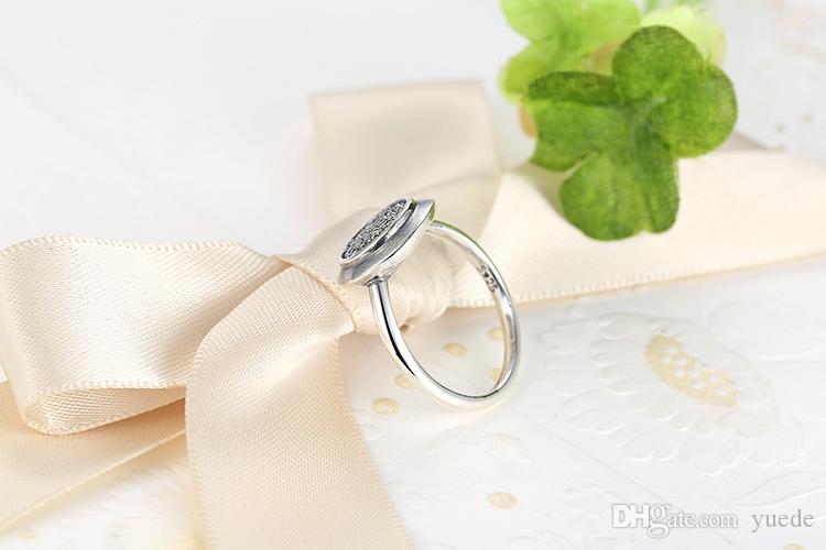 Großhandel neuer Real Sterlingsilber 925 Signature Pave Round Ring mit klarem Zirkonia Jahrestag Schmuck für Frauen mit Logo