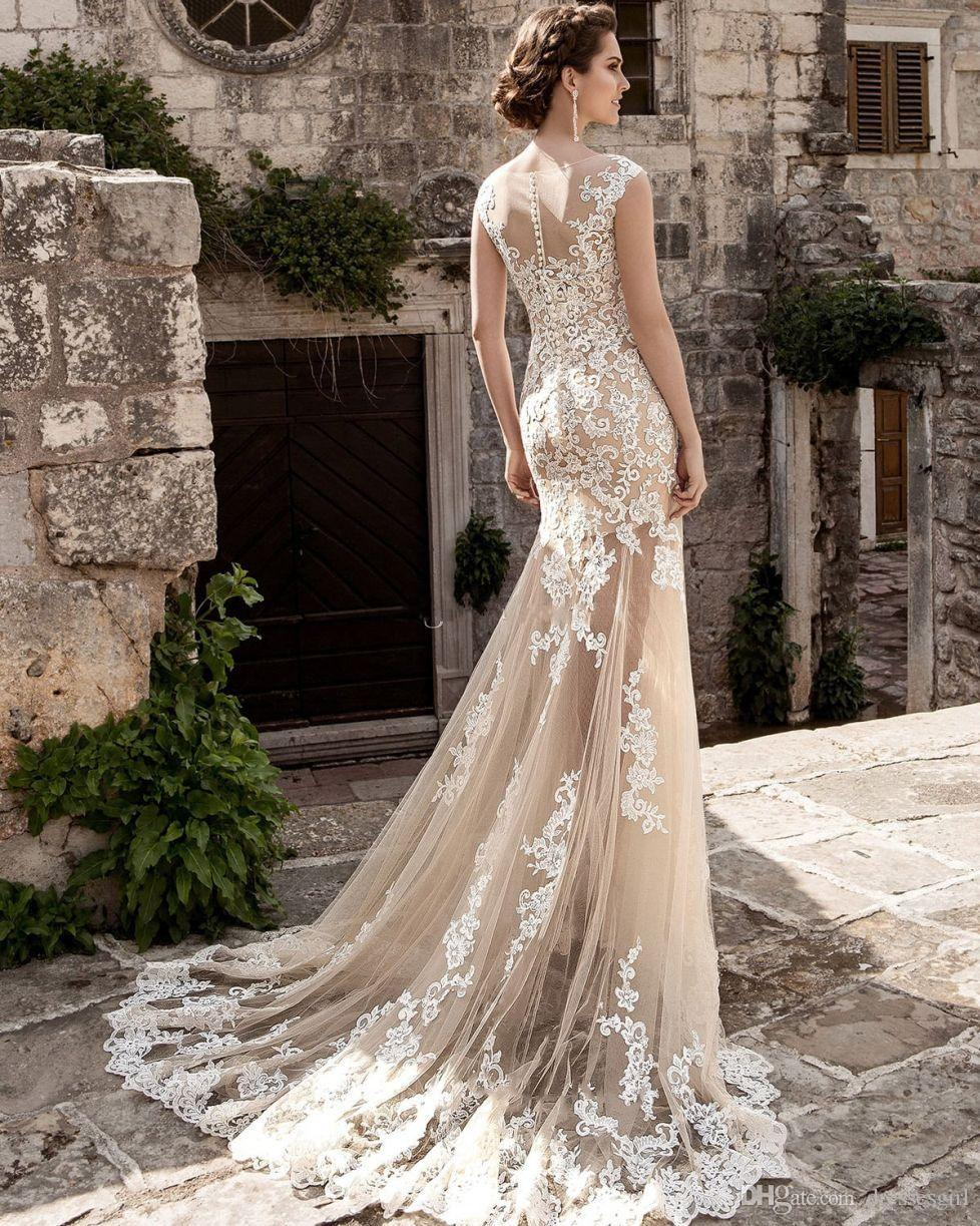 Champagner über Röcke Meerjungfrau Brautkleider Tüll Durchsichten Vintage Spitze Applizierte Schärpe Abnehmbare Zug Boho Braut Brautkleider