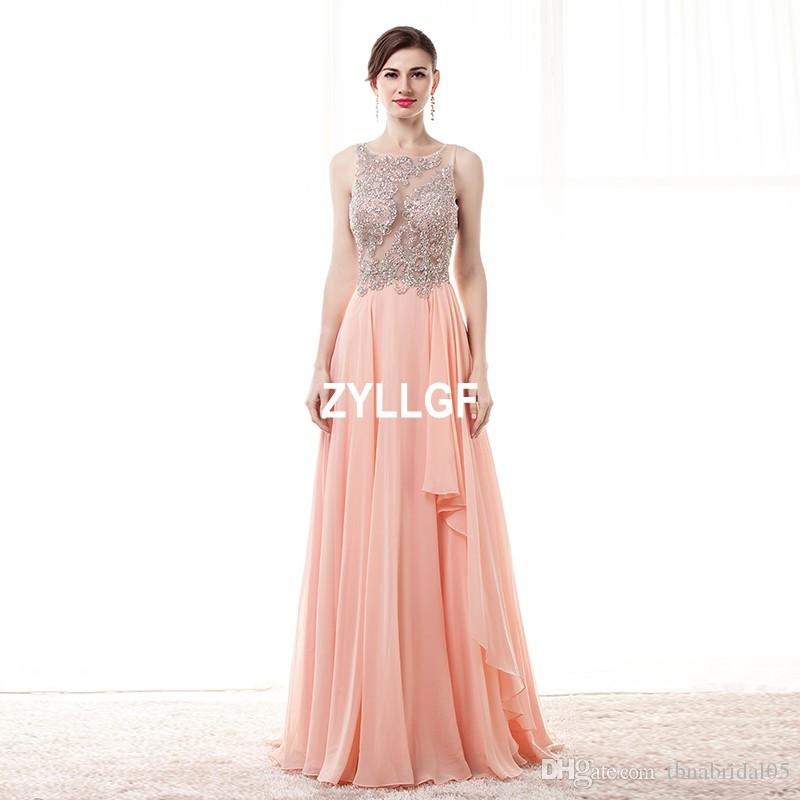 New Arrival Pink O-neck Back Transparent Evening Dresses Plus size New Arrival Hot Sales Formal Gown Robe De Soiree