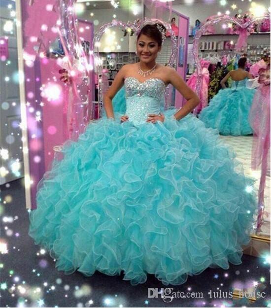 2017 Corsé Espalda Vestidos de quinceañera Mascarada Vestidos de bola Sweetheart Cristales de lujo Ruffles Tulle Sexy Girls Sweet 16 Desfile de fiesta
