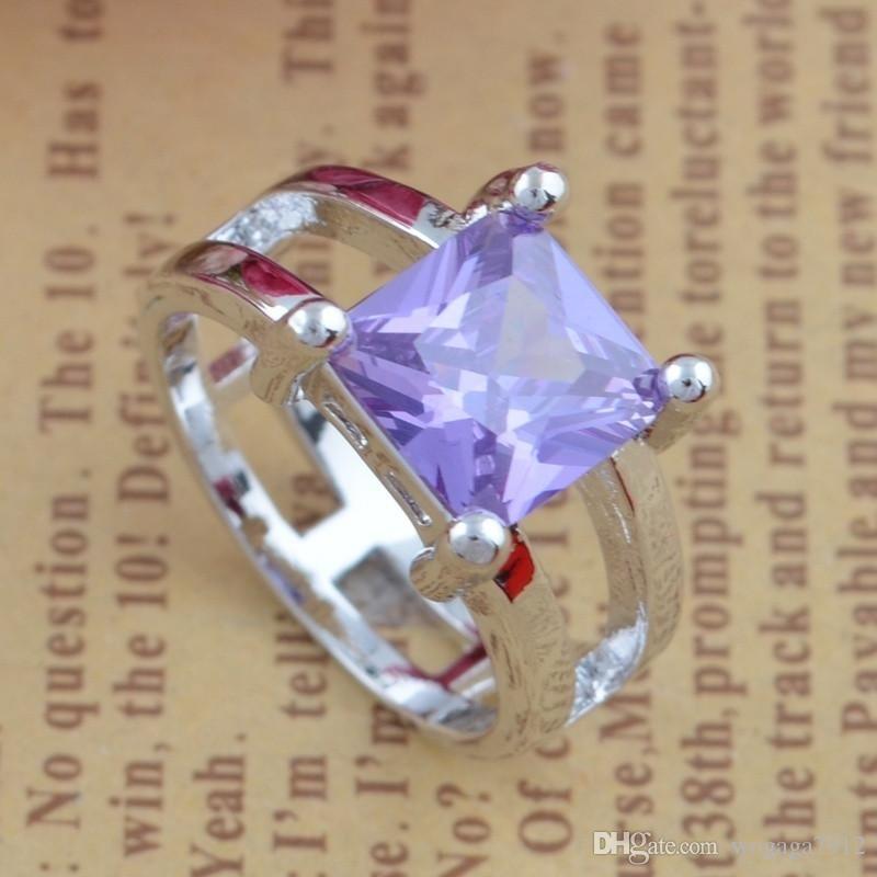 Женская мода стерлингового серебра 925 светло-синий драгоценный камень пара обручальное обручальное кольцо размер 6 7 8 9 10