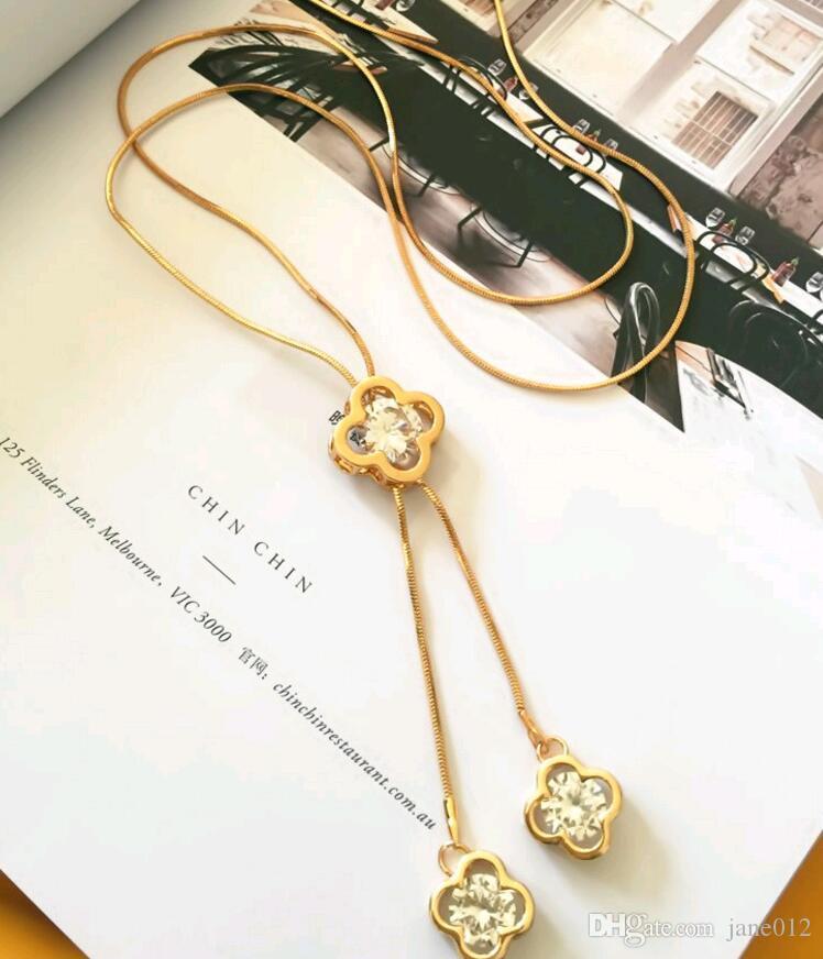 Moda semplice temperamento zircone gioielli donne nappa trifoglio ciondolo collana lunga catena maglione argento oro
