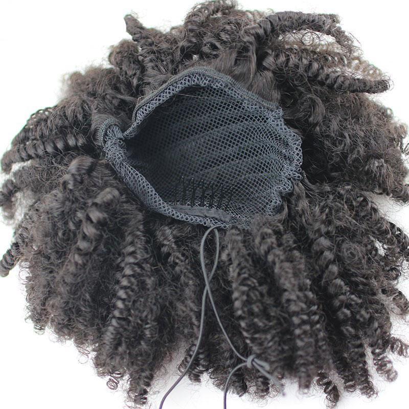 100% Human Hair Ponytail Afro Kinky Curly Ponytail Mongolian Virgin Hair Drawstring Ponytails Extension 100g 120g 140g 8-24 inch