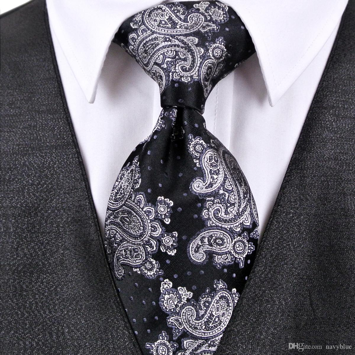 a3280e9a397 K12 Paisley Floral Black Gray Grey White Mens Tie Sets Neckties  Handkerchief 100% Silk Jacquard Woven Wholesale Classy Knit Ties Knitted Tie  From Navyblue