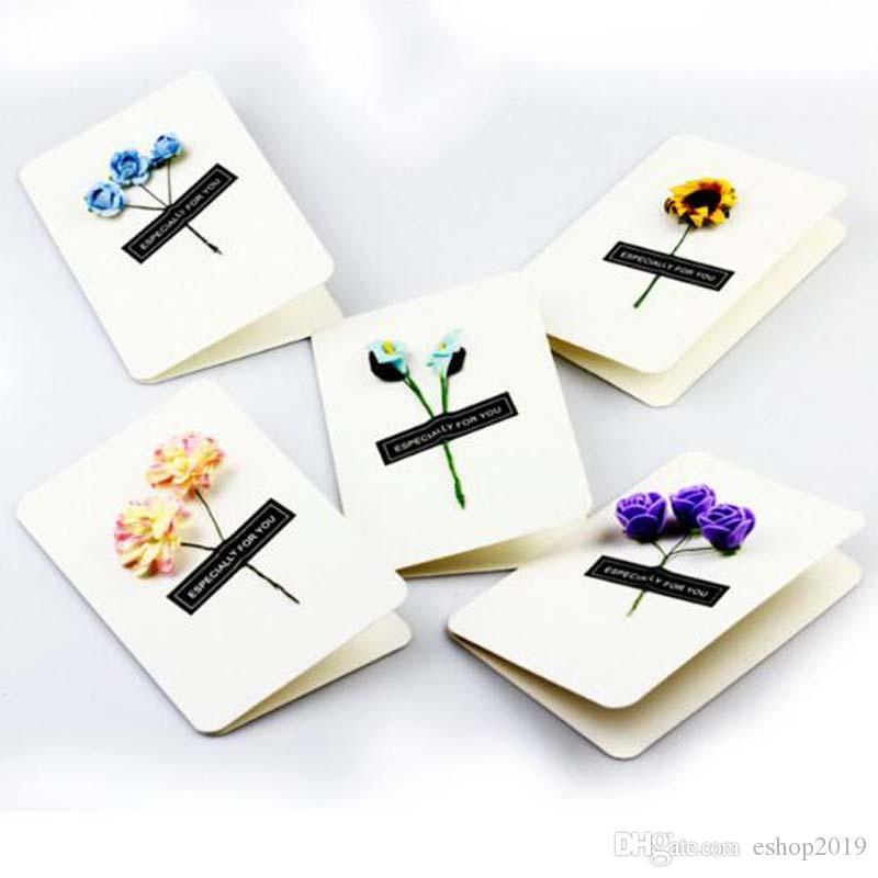 뜨거운 손으로 만든 크리스마스 인사말 카드 말린 꽃 DIY 빈티지 크래프트 종이 고맙습니다 카드 기념일 카드 시뮬레이션 꽃 카드