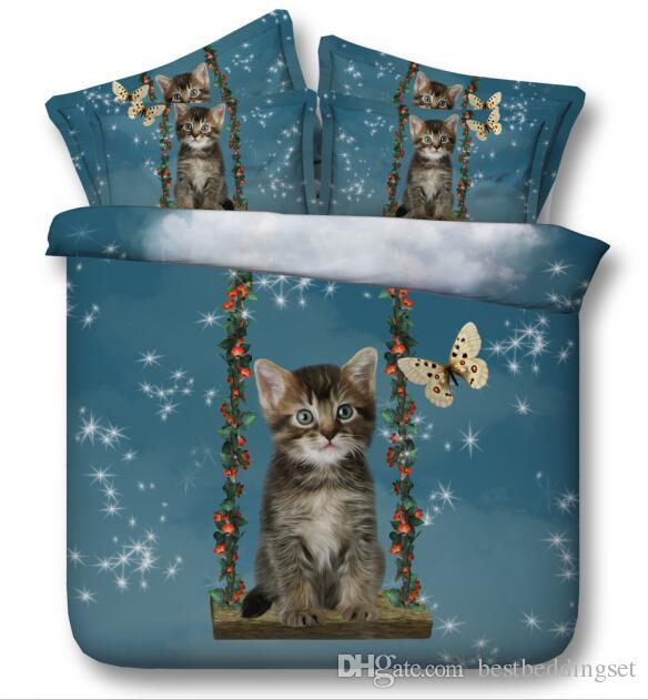 New 3D Bedding Sets Cute Cat And Butterfly Printed Flat Bed Sheet Or Fitted Bed Sheets Queen King California king Size