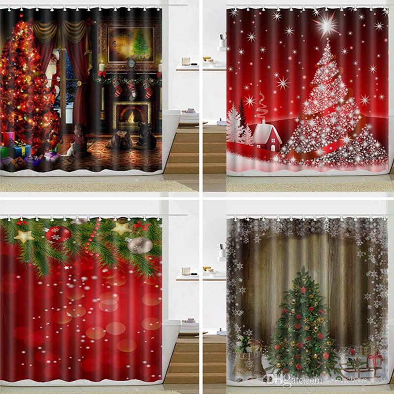 Free DHL Christmas Shower Curtain Santa Claus Snowman Waterproof Bathroom Decoration With Hooks 165180cm TY7 49 Curtains