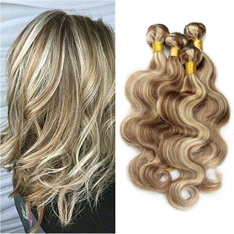 8a Brown Blonde Highlight Indian Virgin Hair Body Wave 4 Bundles 8