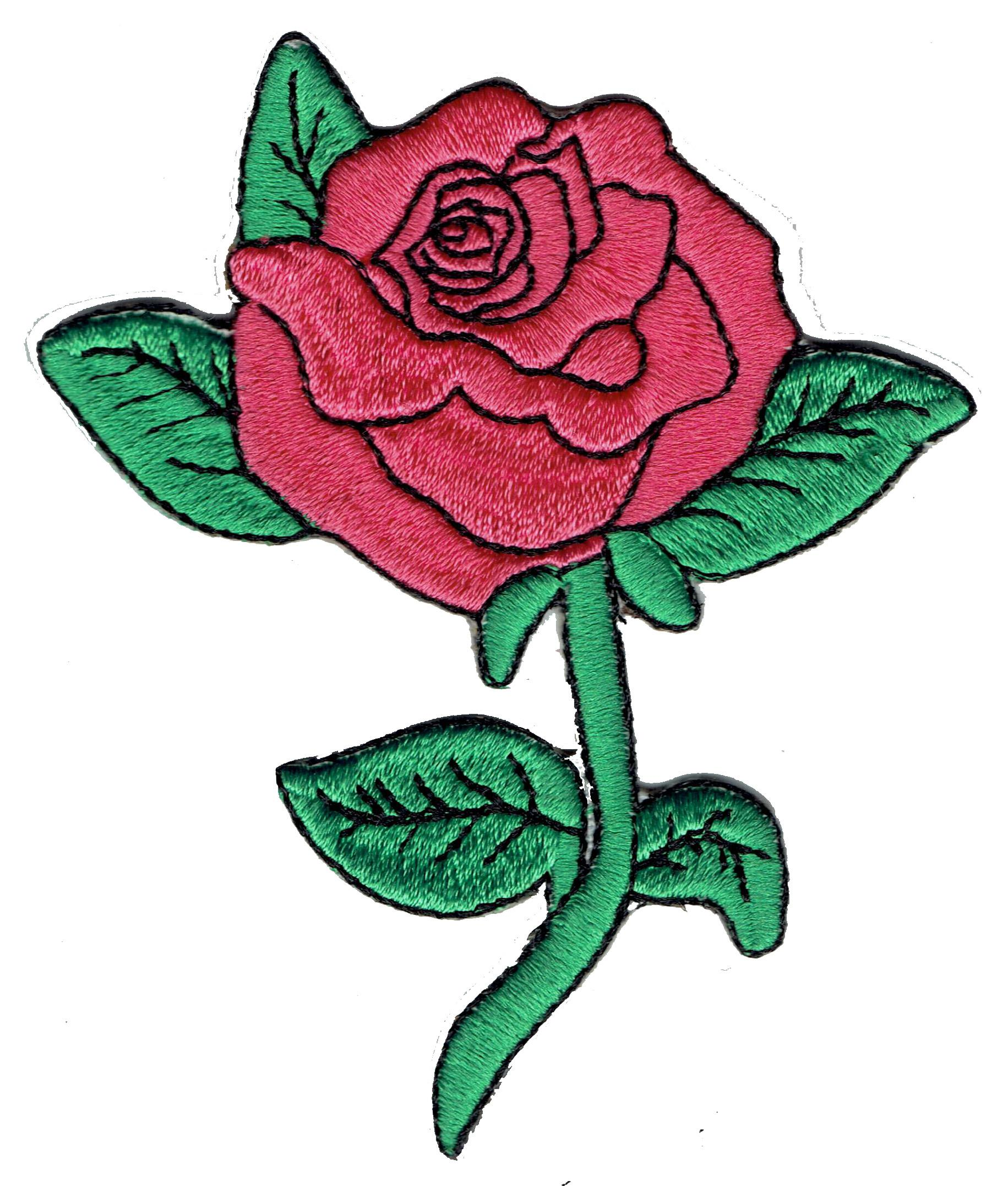 Beautiful pink rose flower embroidery applique patch