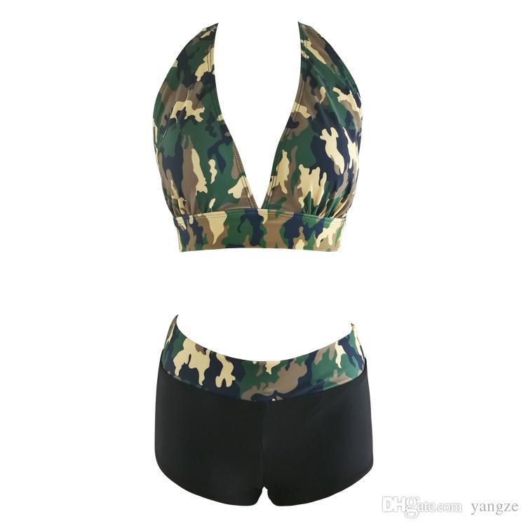 2017 Novo Sexy Halter Bikini Setwear Mulheres Push Up Swimsuit Camuflage Imprimir Praia Banhando Ternos QP0208