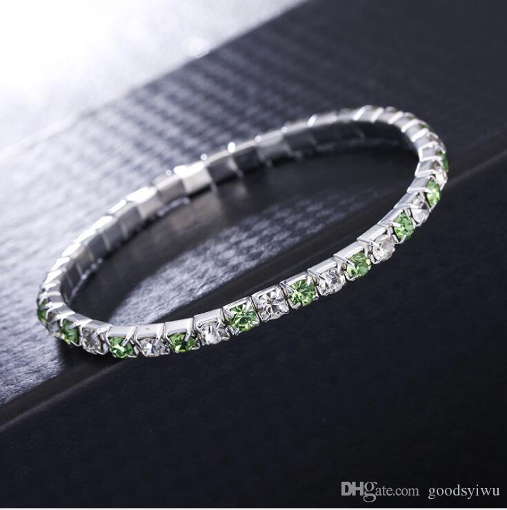 Silver Plated Single Line Crystal Fiiled stretch bracelet Shining zircon elastic Roll Bracelet for women girl
