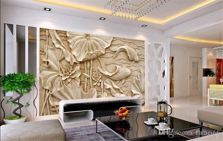 가짜 우드 조각 릴리프 그림 새로운 고전적인 중국 대형 프레스코 3D 스테레오 배경 화면 거실 TV 배경 벽 로터스 피쉬