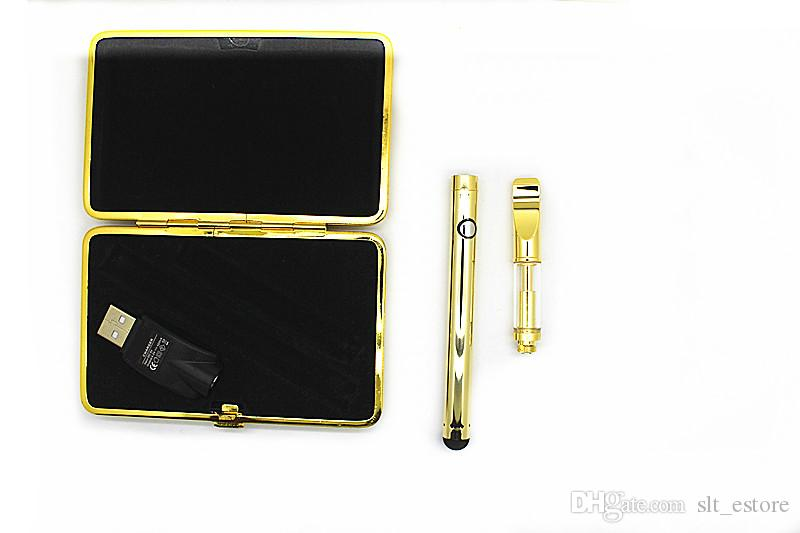 92A3 Glass empty vape pen gold color Atomizer extract oil Vaporizer Dual Coil pyrex tank with BUD Touch ego 510 Battery