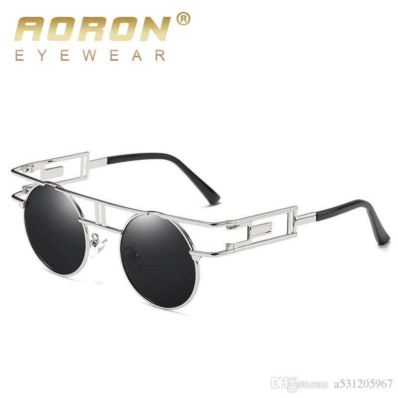 83ecf73002 2017 AORON Gothic Design Polarized Sunglasses Men s Round Glasses ...