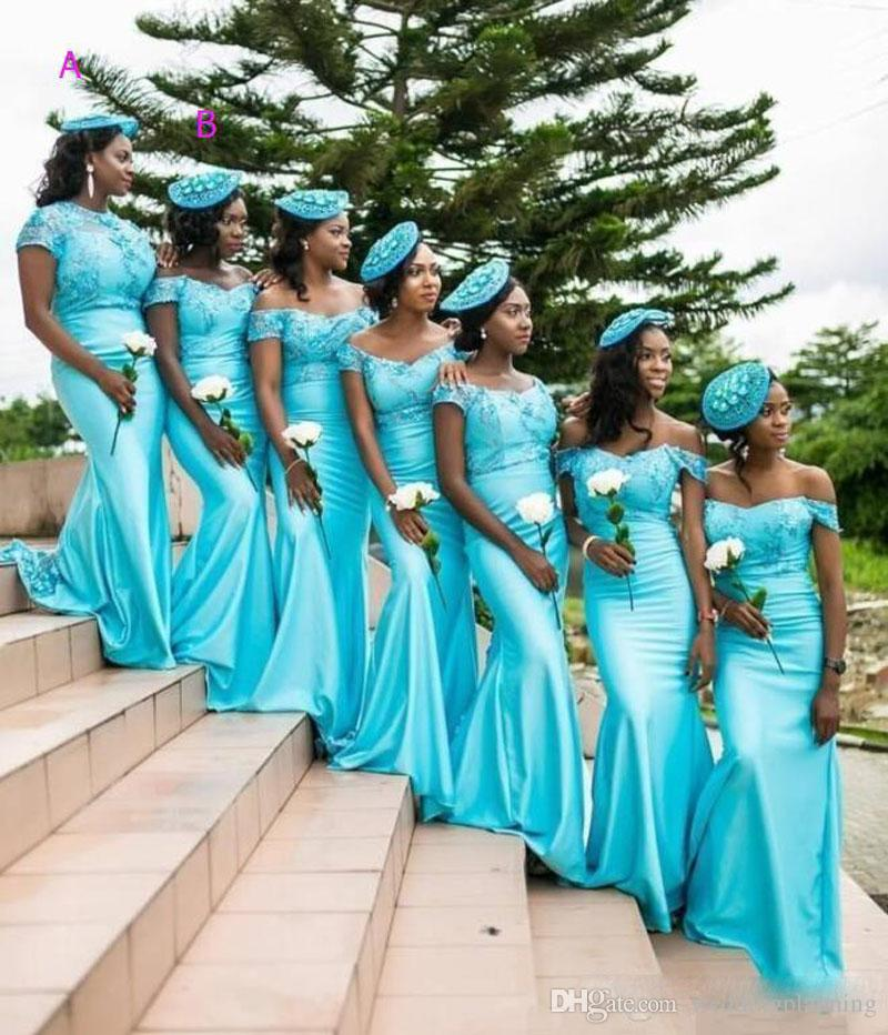 South African Plus Size Bridesmaid Dresses Turquoise Jewel Off The Shoulder Maid Of Honor Bridesmaid Dress Satin Arabic Wedding Guest Dress