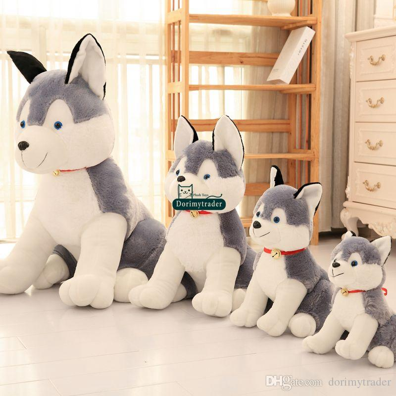 Dorimytrader 110cm Huge Soft Plush Simulated Animal Husky Dog Toy 43inches Stuffed Cartoon Dogs Pillow Doll Child Gift DY61569