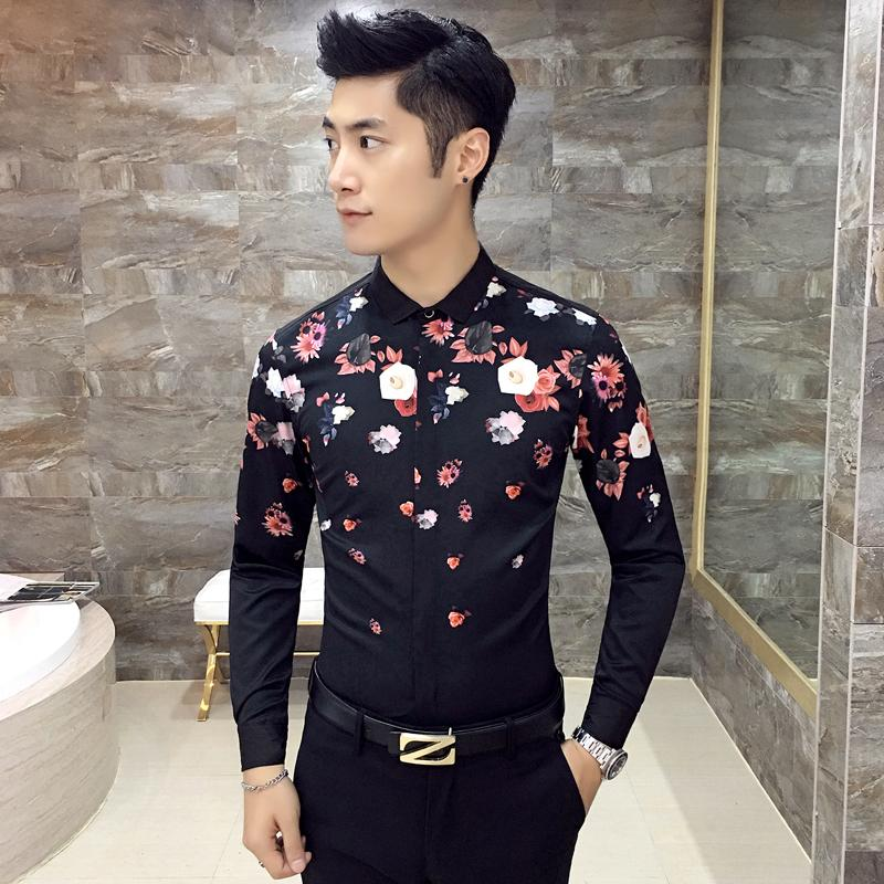 eb84f43b3e7 ... Zodiac Online. Istanbul Print Black Slim Fit Printed Shirt-0 … 2018  Wholesale Men Flower Shirt 2016 Autumn Black White Fashion .