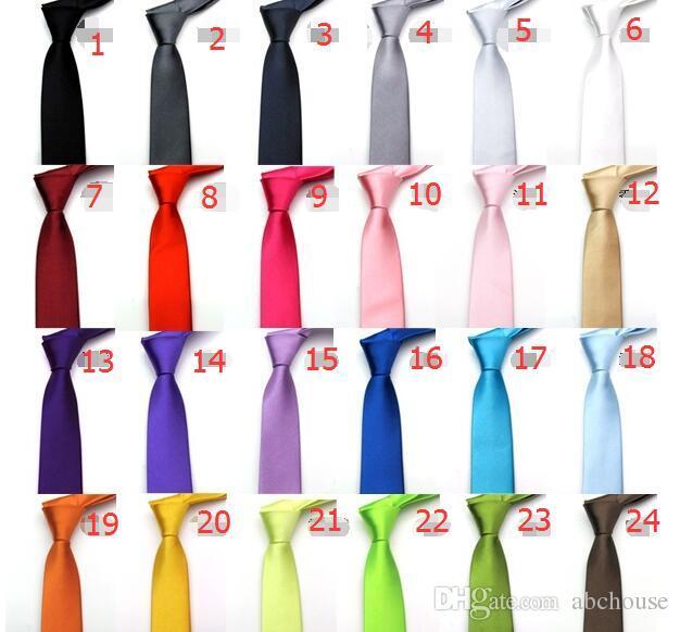 Stokta 5 cm 24 renkler mens düzenli boyutlu boyun bağları taklit ipek düz renk düz düğün kravat lenth Ücretsiz Kargo