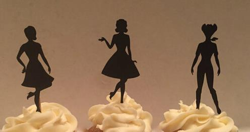 cheap custom pin up girl silhouette cupcake toppers baby bridal shower girls birthday wedding party decoration supplies event camouflage party supplies