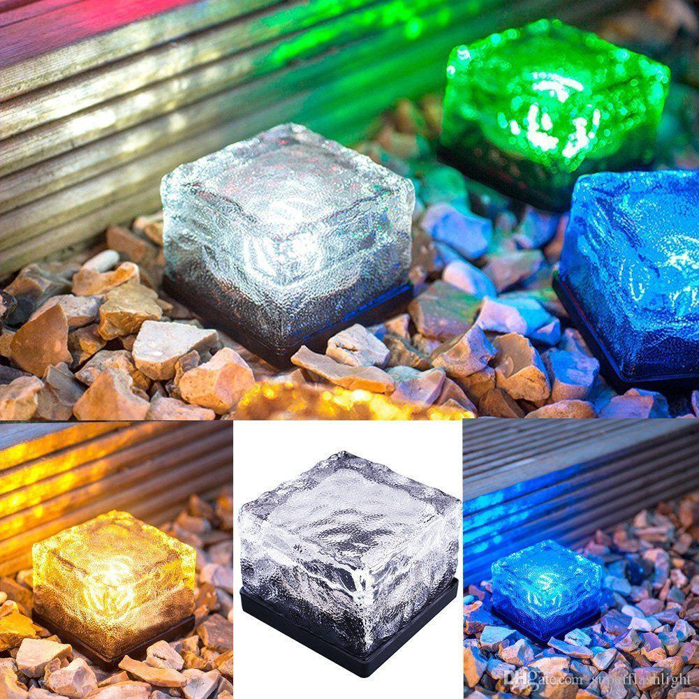 2017 Solar Power LED Ground Crystal Glass Outdoor Yard Garden Deck Road Lamp Light LEG_21Y
