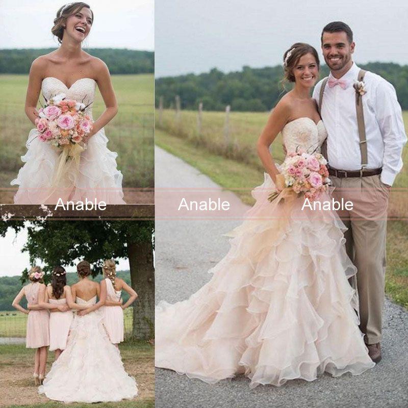 Boho Blush Pink Wedding Dresses 2017 Pretty 3d Flower Lace: Discount 2017 Vintage Blush Pink Country Wedding Dress