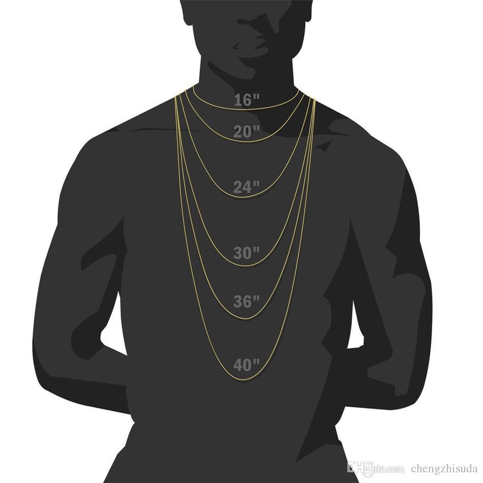 Whosale 16 Zoll 18 Zoll 20 Zoll 22 Zoll 24 Zoll 26 Zoll 28 Zoll 30 Zoll Iced Out Strass Gold Silber Miami kubanische Gliederkette Männer Hiphop Halskette