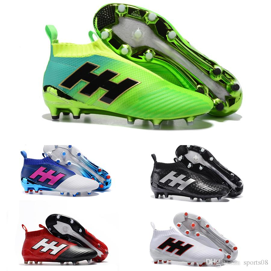 d36d61fd6 2019 Football Shoes Ace 17 + Purecontrol Fg Soccer Cleats For Men Football  Boots Laceless Messi Boots Ace 17.1 High Top Soccer Shoes From Sports08