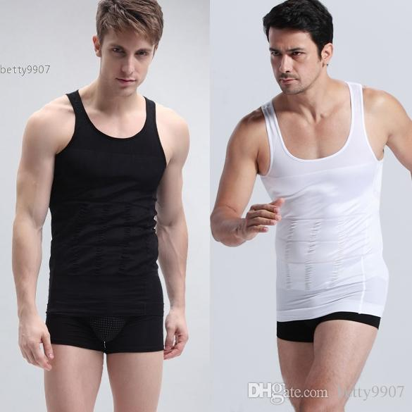3952d498b4a Men Slimming Corset Body Shaper Designer Tank Top Fashion Vest Fatty Sport  Fitness Black White Clothing