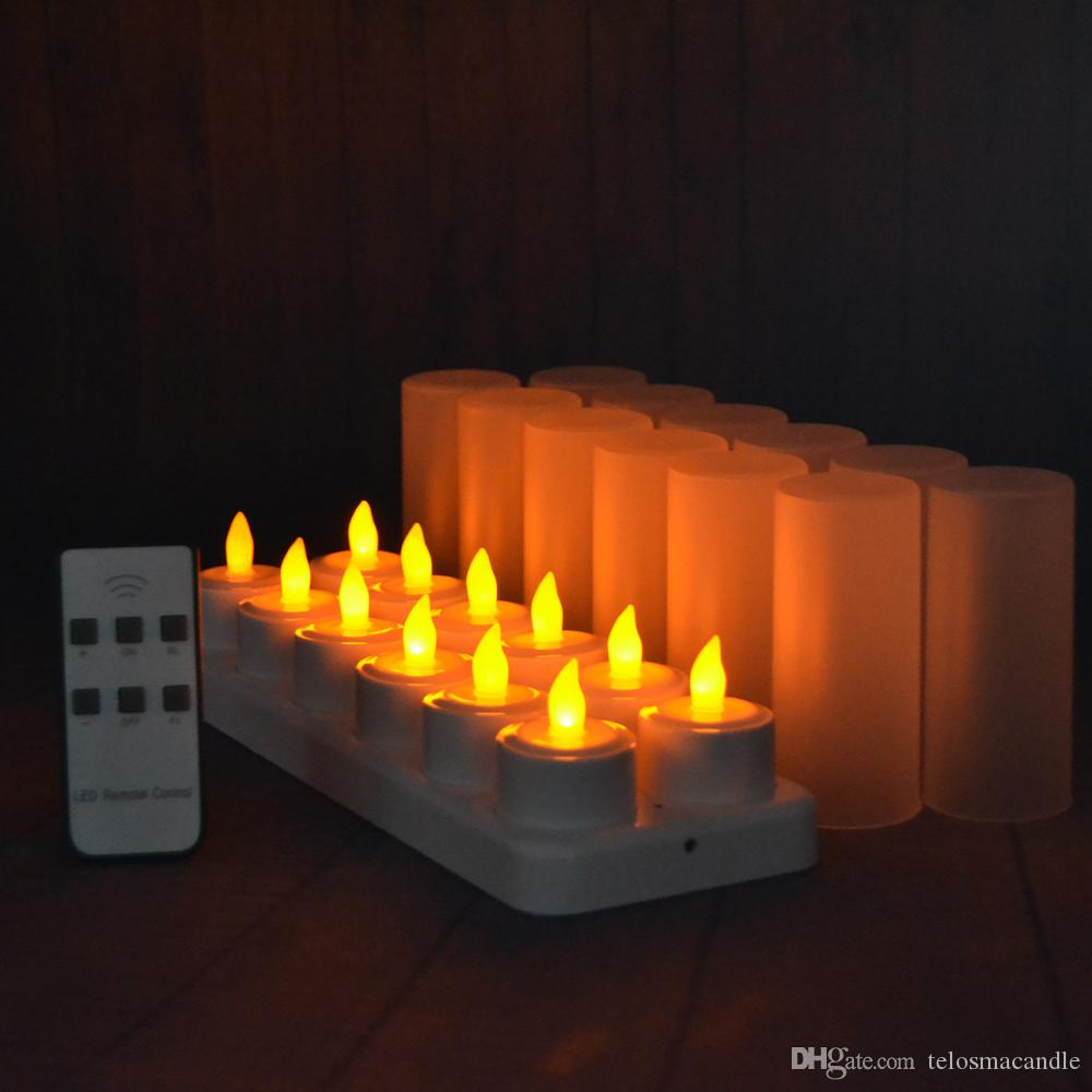 Rechargeable Flameless Led Tealight Candles Flickering Amber Yellow