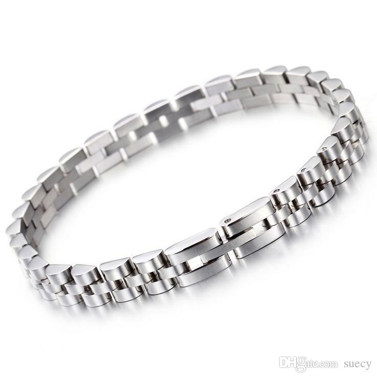 Gold Silver Plated Hiphop pulseira Presidente Strap Pulseira de aço inoxidável 316L Mens Womens pesado Bracelet Pulseira 7 milímetros * 20,5 centímetros