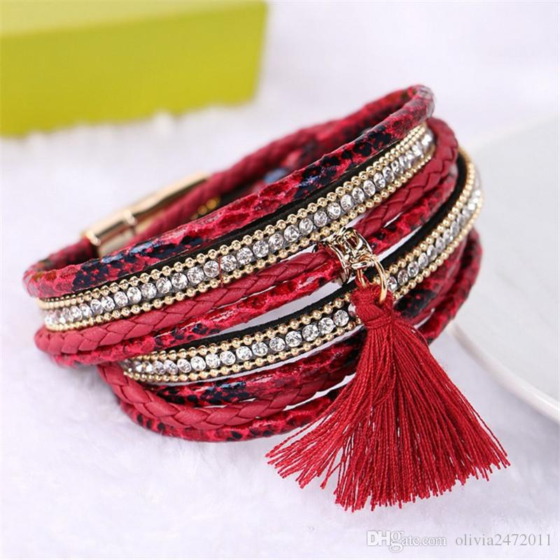 Multi Layer Handmade Braided Leather bracelet summer Tassels Charm Bracelets Bohemian bracelets For Women Gifts KX