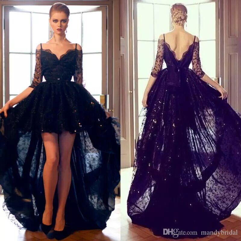 2018 y Black Lace Evening Dresses High Low f Shoulder Long
