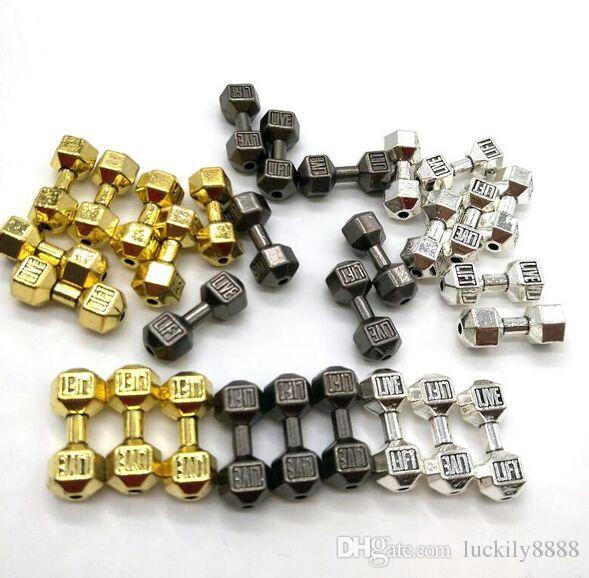 100 adet / grup Halter Dambıl Spacer Boncuk Charms Antik gümüş Altın Gun Siyah fit Diy Boncuklu Spor Bilezikler Takı Yapımı 20x8mm
