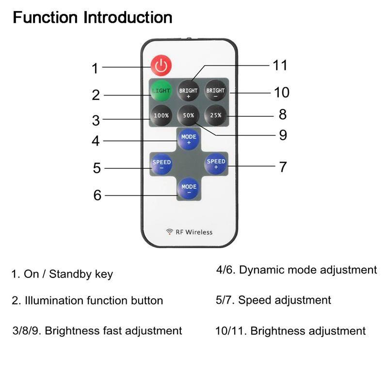 Led Dimmer Anahtarı Uzaktan Kumanda RF Kablosuz 6A Tek Renk Kontrol Led Şerit Işık DC5V-24V 11Key