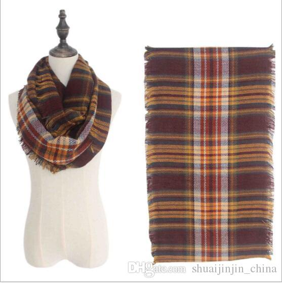 Plaids Infinity Scarves Grid Loop Scarf Blankets Women Tartan Oversized Shawl Lattice Wraps Fringed Cashmere Pashmina YYA176