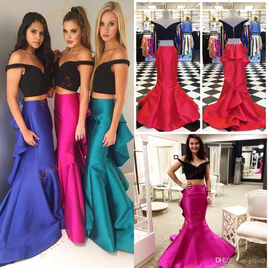 e2284d052af6 Sherrihill Prom Dresses 2017 With Off Shoulder And Ruffled Skirt Real  Picture Two Tones Mermaid Style Pageant Dress Custom Made Grecian Prom  Dresses Indie ...