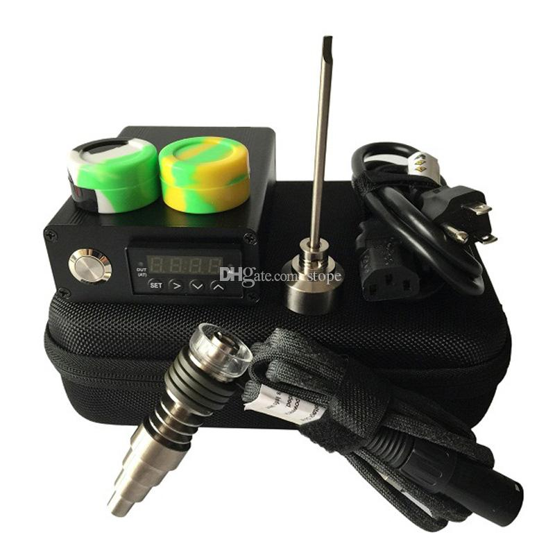 Venta caliente E Digital Nail Kit Titanium / Quartz Hybrid Nail Fit plana 10mm / 16mm / 20mm calentador Bobinas para la cera seca Herbal Galss Bongs