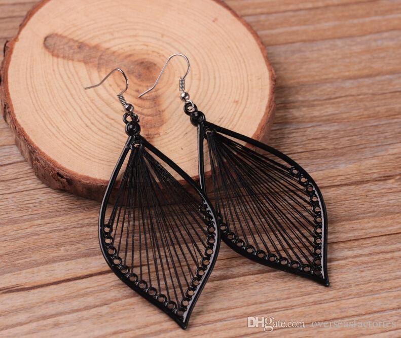 Schönes elegantes Handwerks-Gewinde-Blatt baumeln Tropfen-Haken-Ohrring-Schmucksachen für das freie Verschiffen des Freundingeburtstagsgeschenks