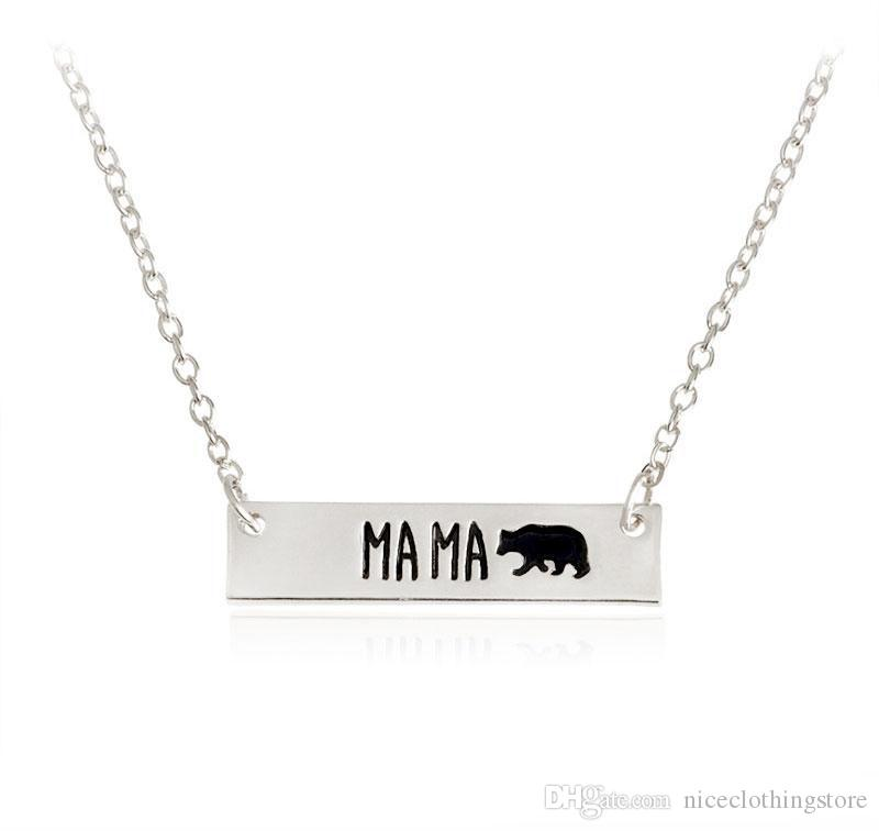 New Fashion Cute animal bears necklace jewelry Lettering Mama Bear Handmade bar Necklace mother love