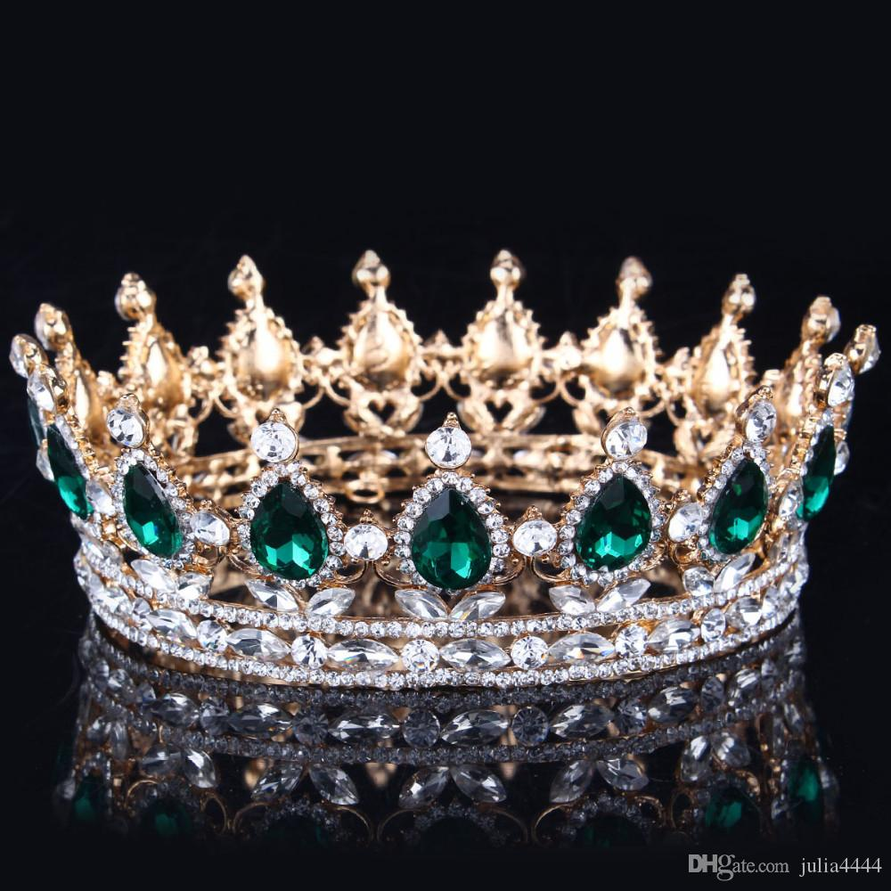 حار تصاميم الأوروبية الملكي الملك الملكة تاج حجر الراين تيارا رئيس المجوهرات quinceanera تاج زفاف العروس التيجان التيجان مهرجان