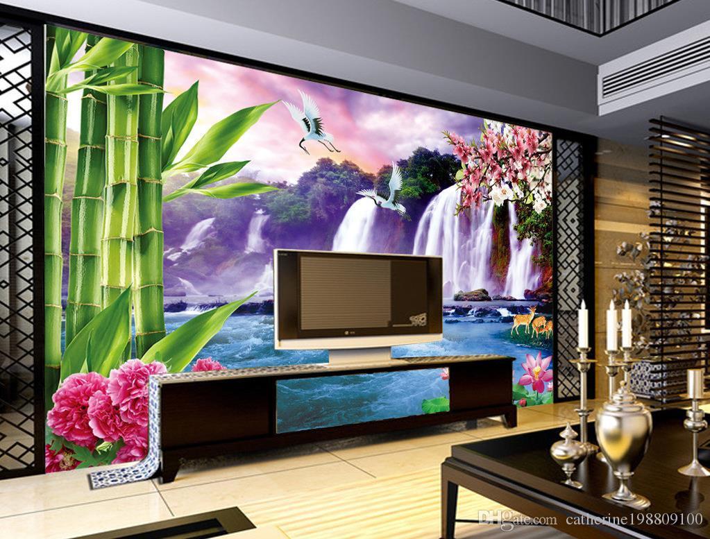 pared fresca gran cascada de TV mural de papel pintado 3D papeles de pared 3D para TV telón de fondo
