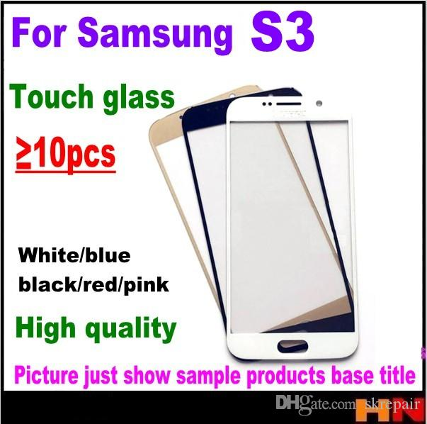 10pcs For samsung 3 s3 outer glass lens screen repair parts front smart phone cover screen replacement colorful free shipping