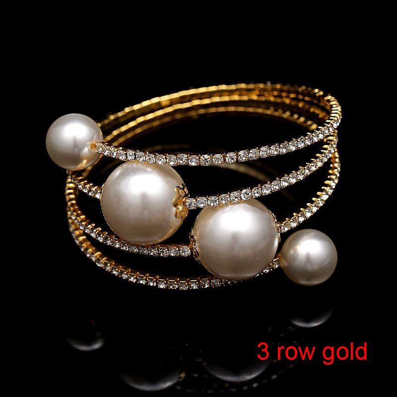 Hot Sale Multi Row Spiral Rhinestone Pearl Charm Bangle Bracelet Bridal Wedding Stretch Bracelets Bangles Wholesale Jewelry for Women