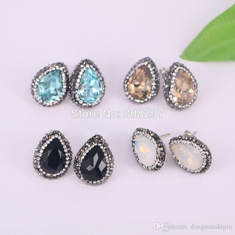 Charm Mixed Color Pave Rhinestone Zircon Water Drop Shape Crystal Stud Earrings Jewelry Finding