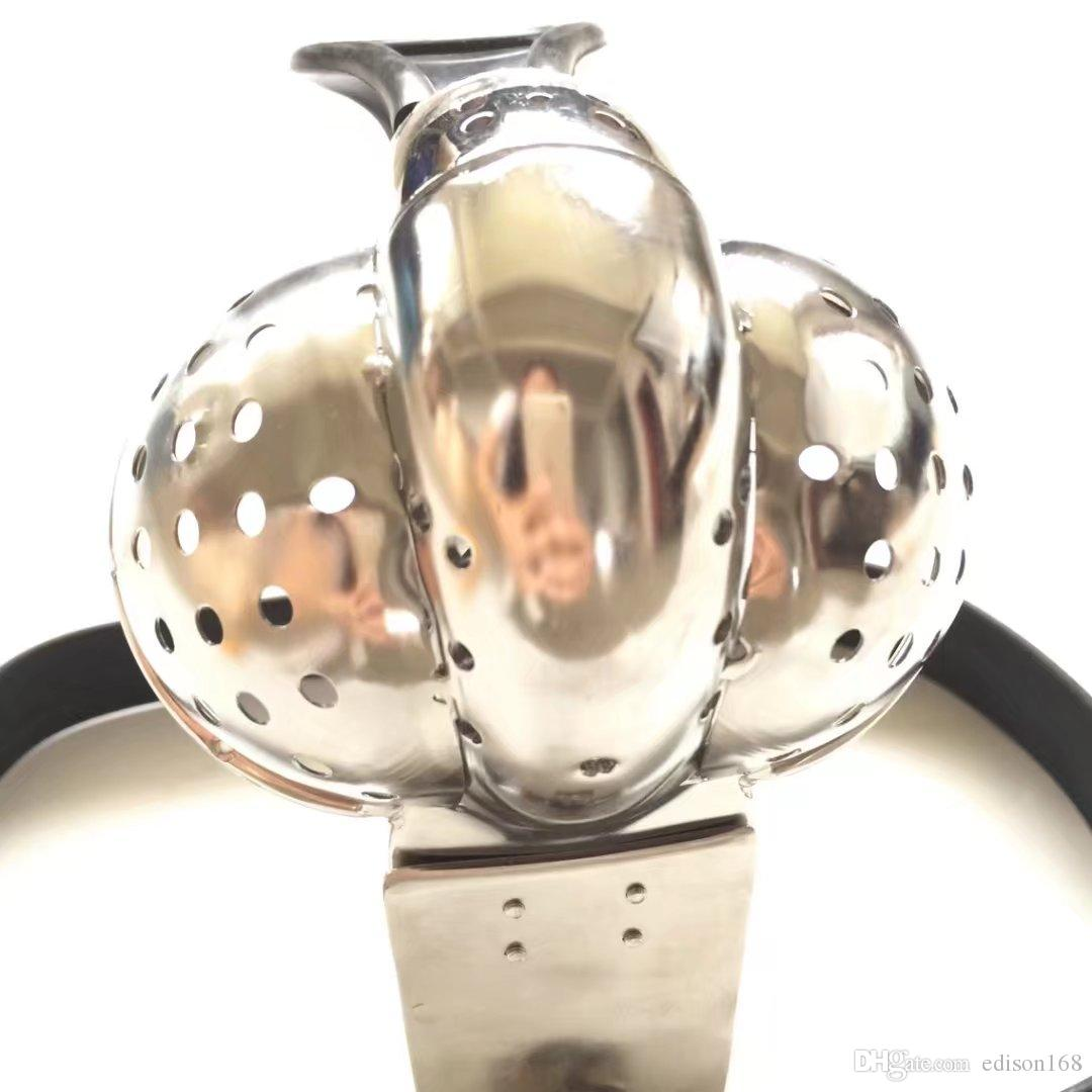 2018 Tipo T masculino Cinturón ajustable Cinturón de castidad de acero inoxidable con ventilación de escroto Ranura de polla Jaula de pene Adulto Bdsm Producto Juguete sexual