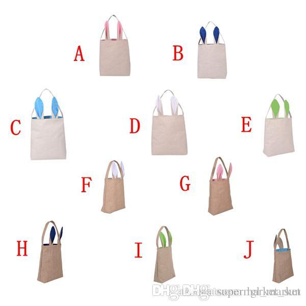 New 10styles cotton linen easter bunny ears basket bag for easter see larger image negle Image collections