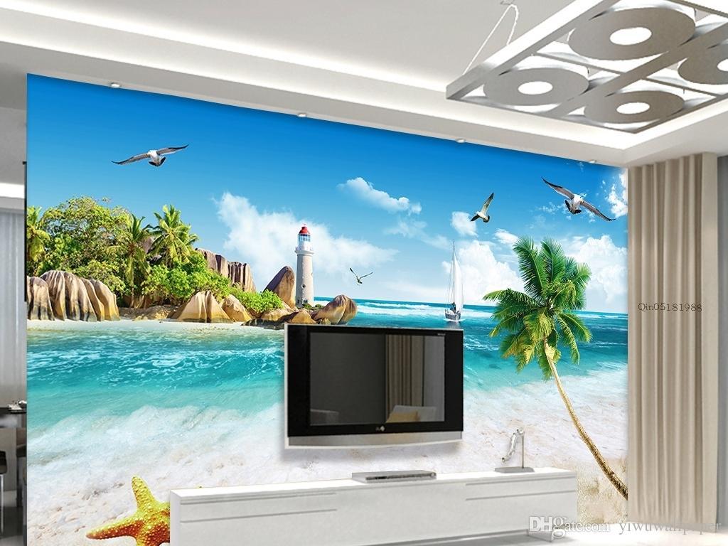 Top Clássico vista para o mar cenário TV parede mural 3d papel de parede 3d papéis de parede para tv pano de fundo