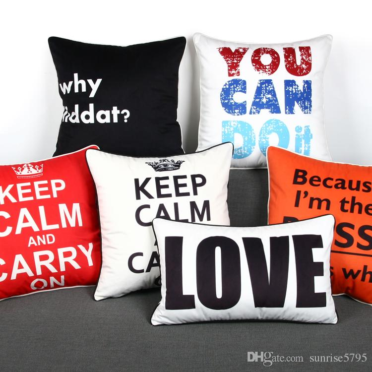 Love Quote Cushion Cover English Letters Throw Pillow Case Keep Calm